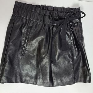 Jolt PVC mini wrap elastic waist skirt